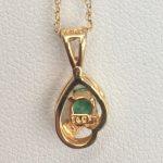 Tiffany and Company 14k Gold Emerald and Diamond Necklace
